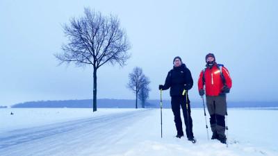 Von Tauwetter keine Spur: Marco Dittmer (rechts) und Axel Oppermann auf dem Weg nach Bad Harzburg. Foto: Dittmer