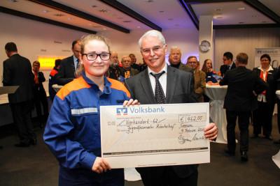 Finanzminister Peter-Jürgen Schneider überreichte den Scheck über den Anteil vom Gewinnsparen an die Jugendfeuerwehr Münchehof. Foto: Kutzner